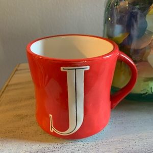 "Anthropologie Hand Painted Red Letter ""J"" Mug"